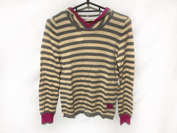 ロイスクレヨン 長袖セーター レディース美品  ベージュ×グレー×ピンク ボーダー