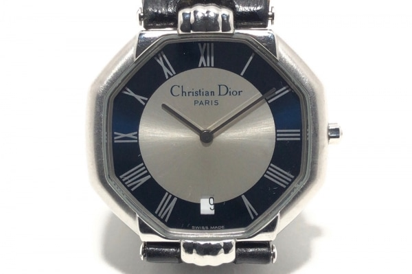 ChristianDior(ディオール) 腕時計 - D45-100 レディース 革ベルト アイボリー×黒