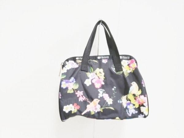 レスポートサック ハンドバッグ 黒×マルチ ×CHESTY/ミニサイズ/花柄 レスポナイロン