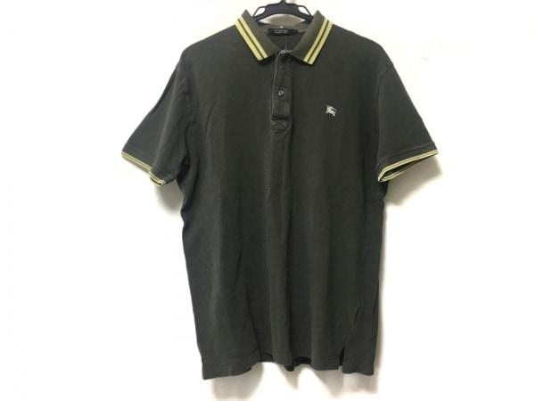 バーバリーブラックレーベル 半袖ポロシャツ サイズ3 L メンズ グレー×イエロー