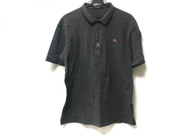 バーバリーブラックレーベル 半袖ポロシャツ サイズ3 L メンズ グレー×ピンク