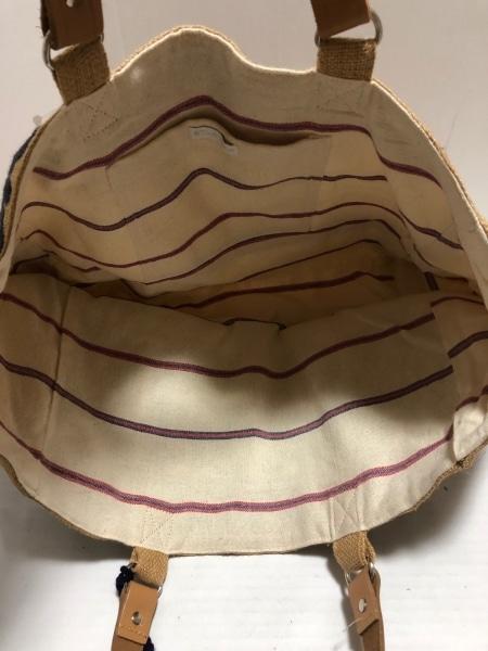 スターメラ トートバッグ美品  ベージュ×ダークブラウン×ダークネイビー 刺繍