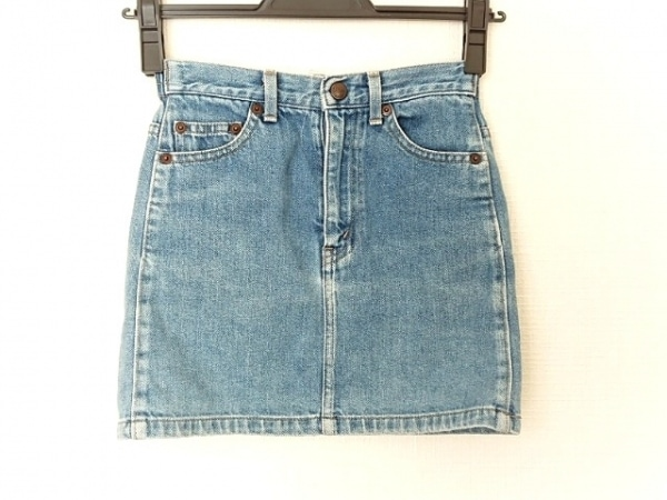 ミキハウス スカート サイズ120 レディース美品  ライトブルー×アイボリー デニム