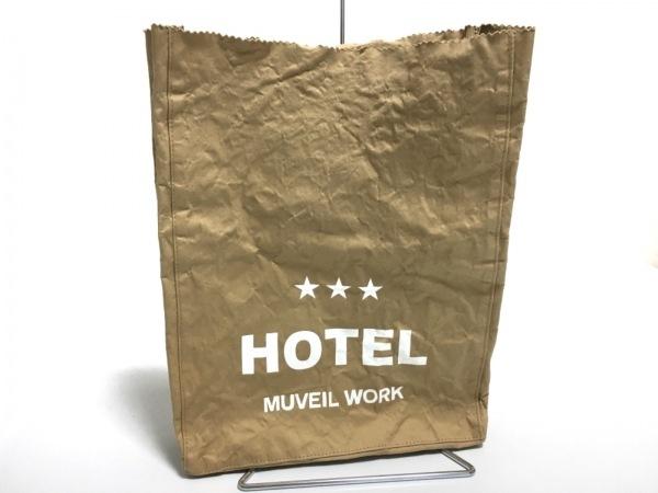 MUVEIL WORK(ミュベールワーク) クラッチバッグ ベージュ ペーパーバッグ風 コットン