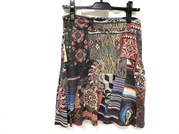 デシグアル スカート サイズL レディース美品  ダークブラウン×レッド×マルチ 花柄