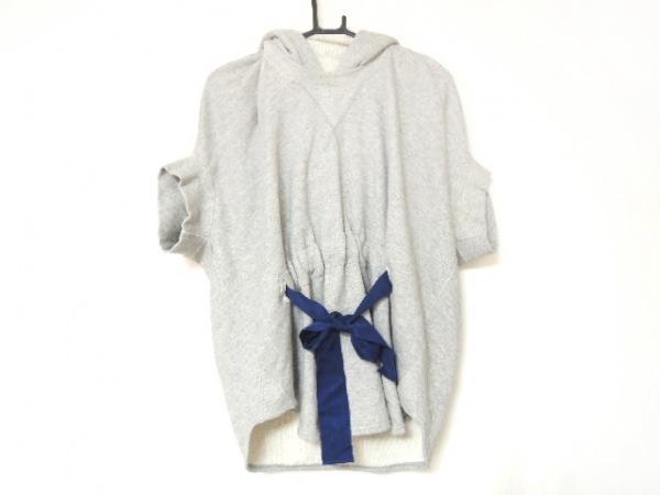 sakayori(サカヨリ) パーカー レディース美品  ライトグレー×ブルー リボン