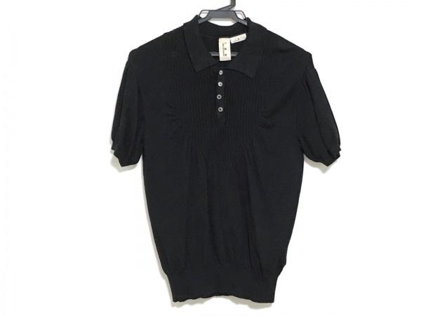 タオコムデギャルソン 半袖ポロシャツ サイズS レディース 黒 ニット