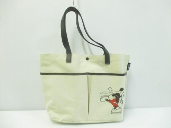 6d6c49420b75 スナイデル トートバッグ美品 アイボリー×黒×レッド Disney キャンバス ...