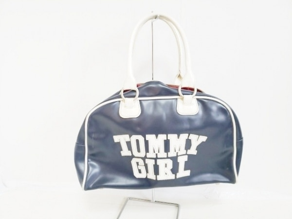 tommy girl(トミーガール) ハンドバッグ ネイビー×白 PVC(塩化ビニール)×レザー
