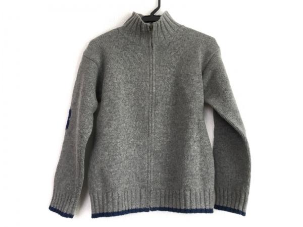 ボンポワン 長袖セーター サイズ12 メンズ グレー×ネイビー キッズ/ジップアップ
