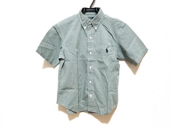 RalphLauren(ラルフローレン) 半袖シャツ サイズ130 メンズ美品  グリーン×白