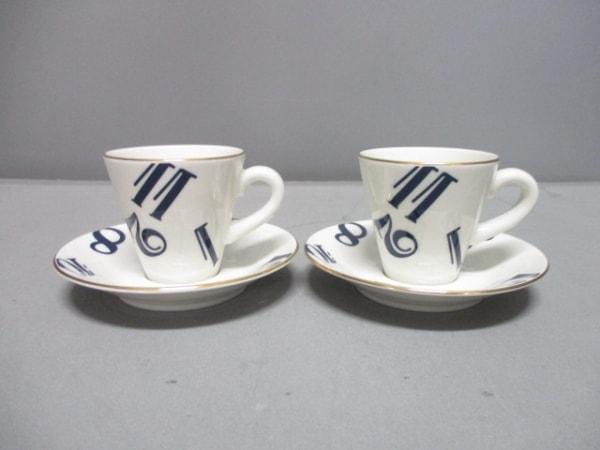 フランクミュラー カップ&ソーサー新品同様  白×ネイビー×ゴールド 2客セット 陶器