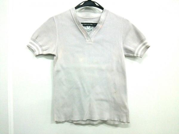 シャネル 半袖セーター サイズ38 M レディース スポーツライン ライトグレー×白