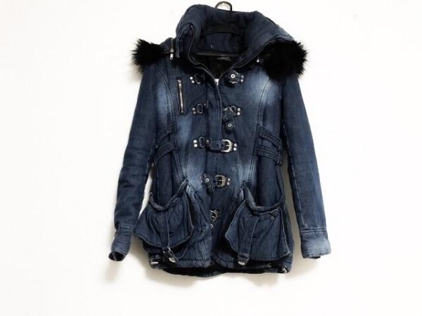 BACKS(バックス) コート サイズM レディース ネイビー×黒 デニム/冬物