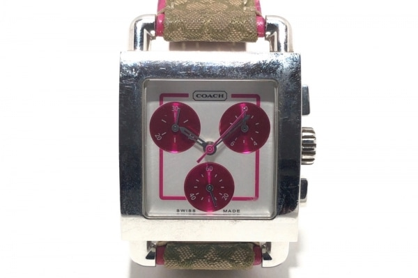 COACH(コーチ) 腕時計 ミニシグネチャー柄 0253 レディース クロノグラフ 白×ピンク