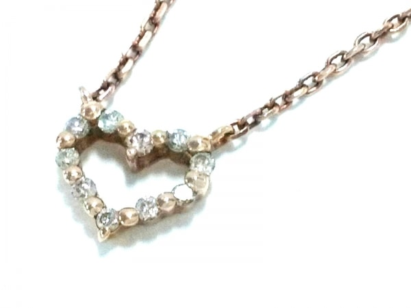 agete(アガット) ネックレス美品  K10×ダイヤモンド 0.06カラット/ハート