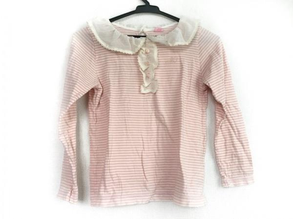 メゾピアノ 長袖Tシャツ サイズS ユニセックス 白×ピンク ボーダー/フリル