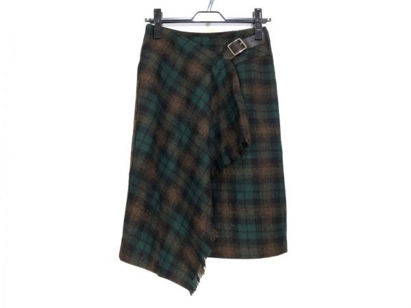 オニール 巻きスカート サイズ6(US) M レディース グリーン×黒×ブラウン チェック柄