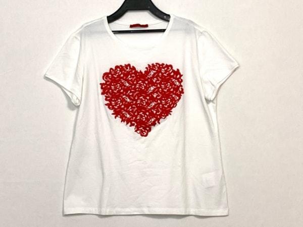 キャロリーナ ヘレラ 半袖Tシャツ サイズL レディース 白×レッド ハート/刺繍