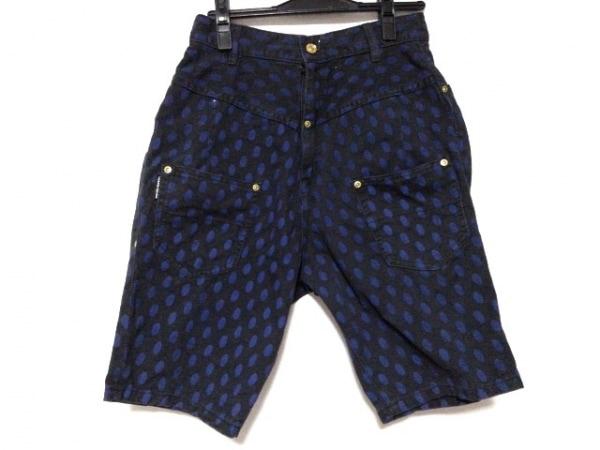 メルシーボークー ハーフパンツ サイズ0 XS レディース美品  黒×ブルー ドット柄
