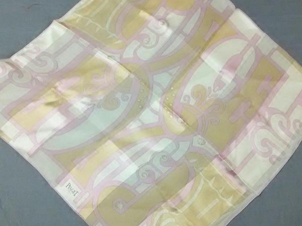 PIAGET(ピアジェ) スカーフ新品同様  ピンク×ベージュ×白