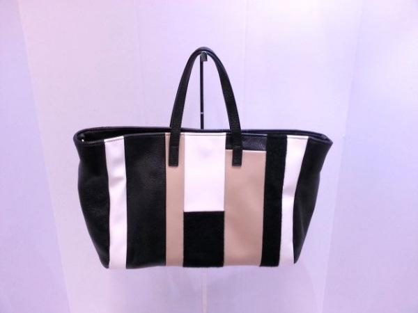LAZY SUSAN(レイジースーザン) トートバッグ 黒×白×ベージュ 合皮