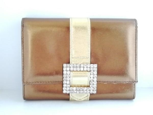 アッシュ&ダイヤモンド 2つ折り財布 ブロンズ×ゴールド ラインストーン レザー