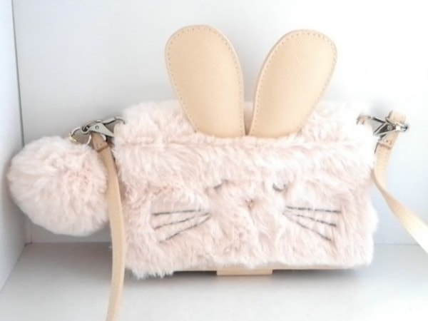 サマンサタバサプチチョイス 携帯電話ケース ベージュ ウサギ フェイクファー×合皮