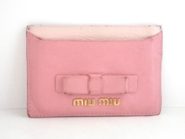 miumiu(ミュウミュウ) カードケース - ピンク リボン レザー