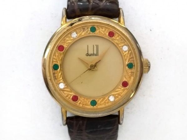 ダンヒル 腕時計 - レディース 革ベルト/ラインストーン ゴールド