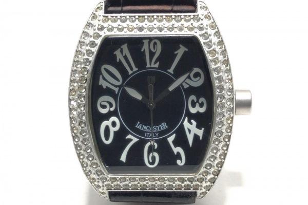 ランカスター 腕時計 0248 レディース ラインストーンベゼル/型押し加工 黒