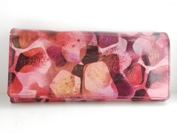 フルッティ ディ ボスコ 長財布 ピンク×マルチ 花柄 エナメル(レザー)×ハラコ