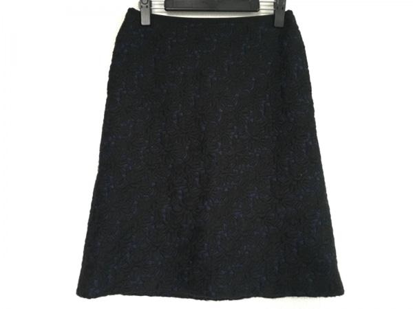 フィロディセタ スカート サイズ38 M レディース ネイビー×黒 フラワー/刺繍
