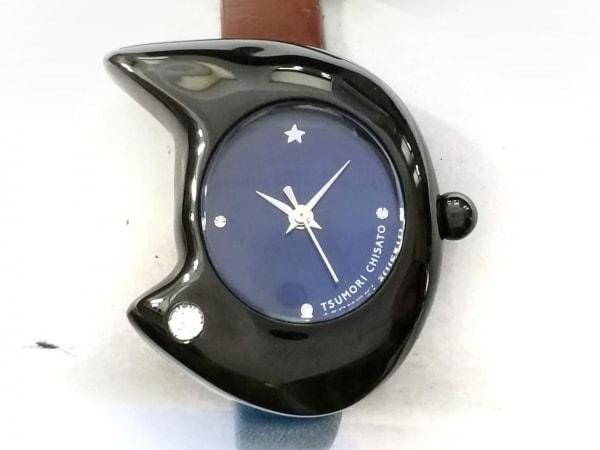 ツモリチサト 腕時計美品  VC01-D013 レディース 革ベルト/ラインストーン ネイビー