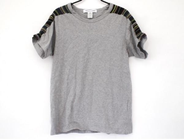 コムデギャルソンシャツ 半袖Tシャツ サイズM レディース グレー×マルチ ストライプ