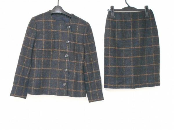 AKRIS(アクリス) スカートスーツ サイズ38(D) レディース 黒×ブラウン 格子柄