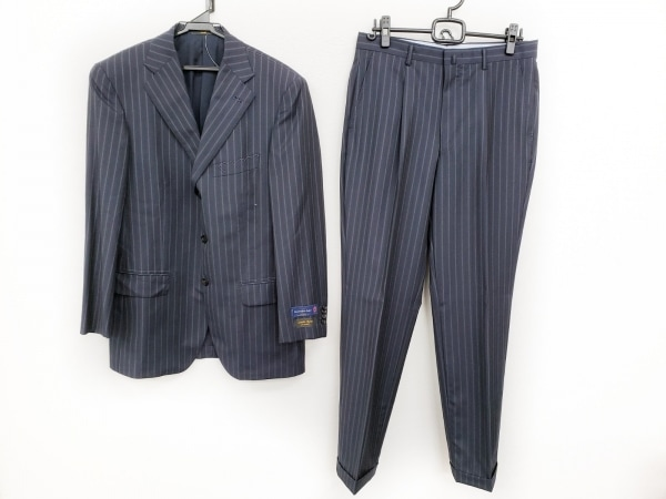 サヴィルロウ シングルスーツ サイズA6 メンズ美品  ダークネイビー ストライプ