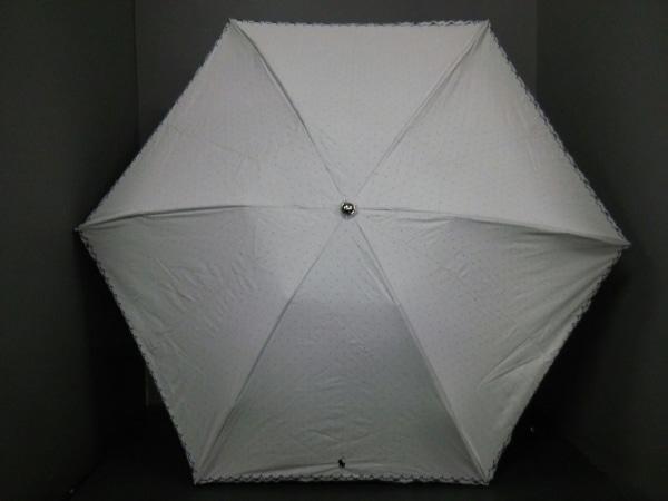 ポロラルフローレン 折りたたみ傘 白×黒 ドット柄 化学繊維×金属素材