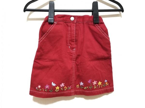 ミキハウス スカート サイズ110 レディース美品  レッド×マルチ 刺繍/フラワー