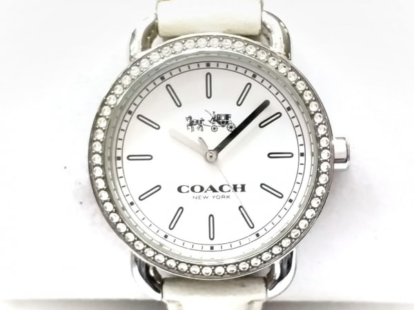 08f58f338818 COACH(コーチ) 腕時計 CA.105.7.14.1141S レディース ラインストーンベゼル 白