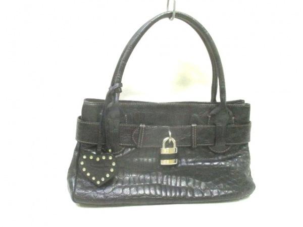 ROBERTAGANDOLFI(ロベルタガンドルフィ) ハンドバッグ美品  黒 型押し加工 レザー