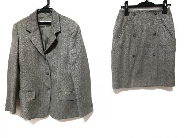 マレーラ スカートスーツ サイズ42 M レディース美品  ライトグレー×黒 肩パッド