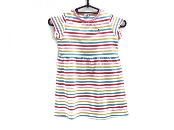 ミキハウス ワンピース サイズ110 レディース 白×ピンク×マルチ ボーダー/子供服