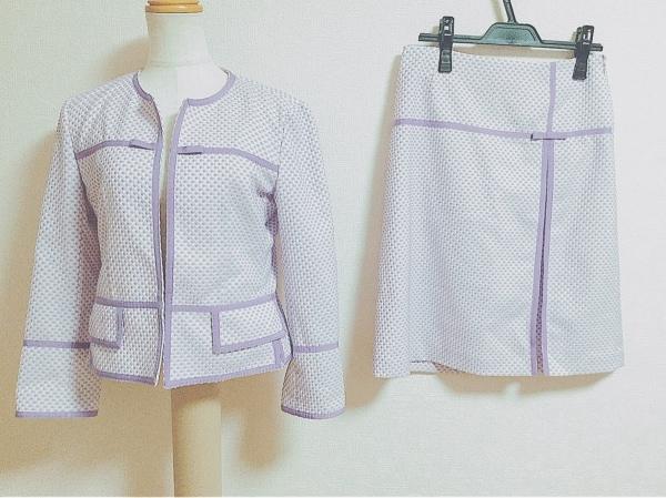 ミラショーン スカートスーツ サイズ40 M レディース パープル×白 リボン/BLUE LABEL