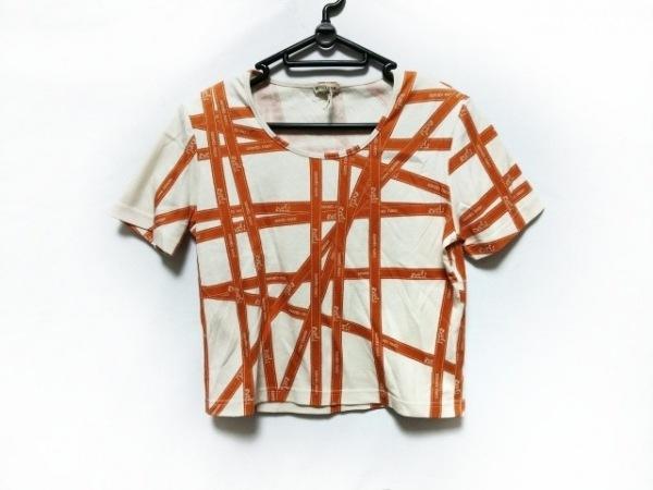 エルメス 半袖Tシャツ レディース美品  白×ライトブラウン ボルデュックリボン柄
