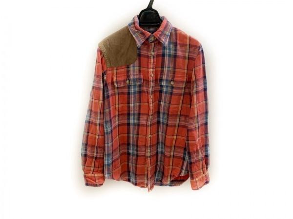 ポロラルフローレン 長袖シャツ サイズS メンズ レッド×ライトブラウン×マルチ