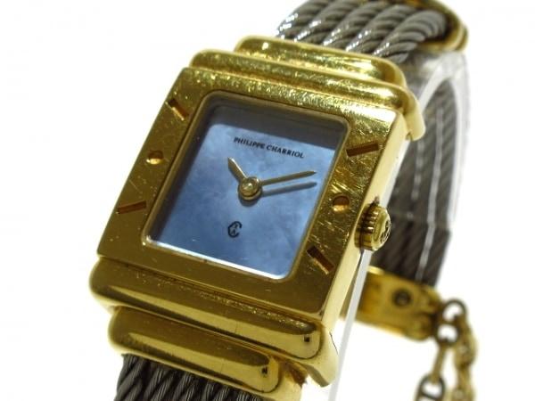 フィリップシャリオール 腕時計 サントロペスクエア 7007902 レディース ライトブルー