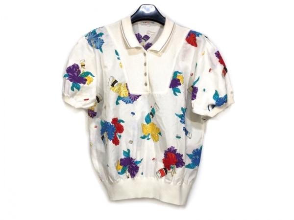 LEONARD(レオナール) 半袖ポロシャツ サイズL レディース アイボリー×ブルー×マルチ