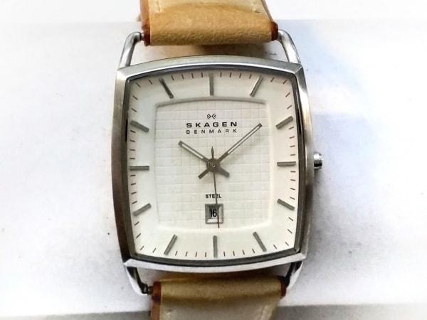SKAGEN(スカーゲン) 腕時計 243LSLT メンズ 革ベルト 白