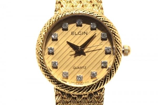 ELGIN(エルジン) 腕時計 FK279 レディース 12Pダイヤ ベージュ